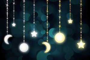 Celestial Bokeh String Light Clipart
