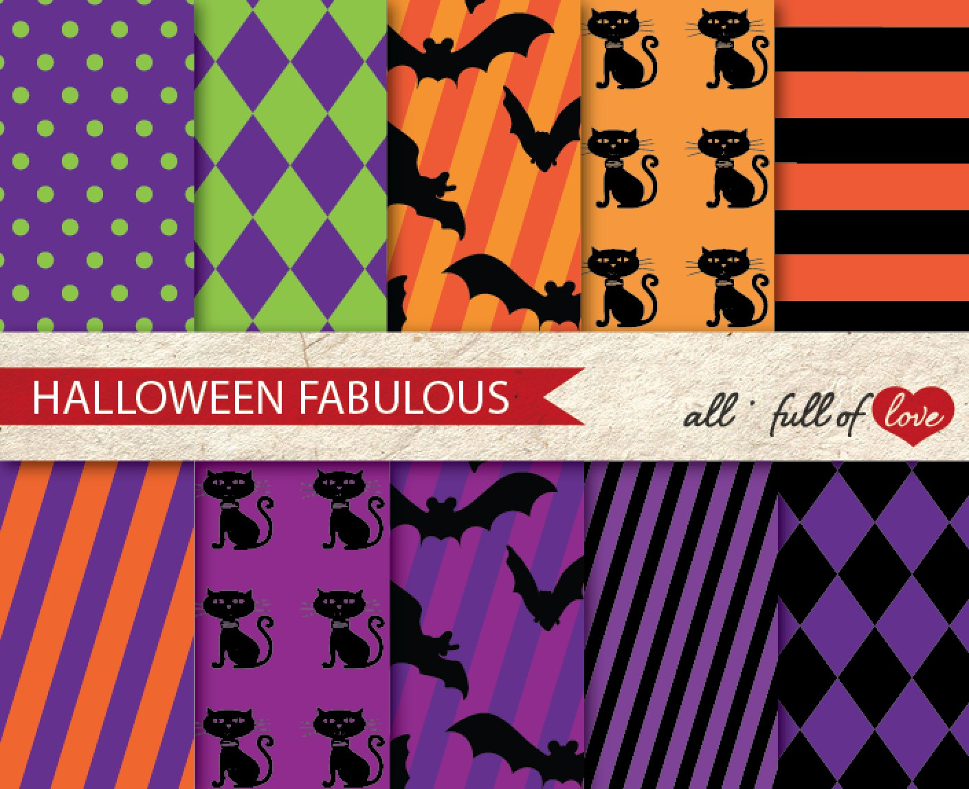 Halloween Party Craft Paper Kit Graphic Patterns