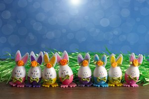 Colorful Easter rabbit-eggs.
