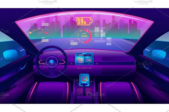 Inside View On Futuristic Self-driving Car Salon