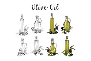 Glassware bottles with olive oil sketches