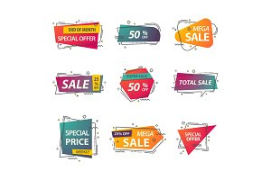 Set of isolated price tags or discount signs