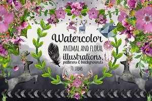 Watercolor Animals, Florals, Pattern