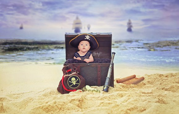 Newborn Pirate Digital PhotoBackdrop