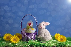 White Easter bunny with basket.