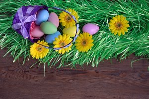 Easter basket and Easter eggs.
