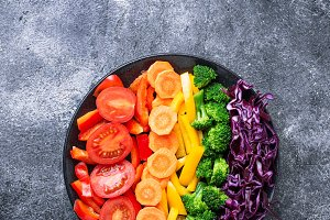 Fresh healthy vegetarian rainbow salad
