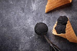 Black ice cream. Trendy food