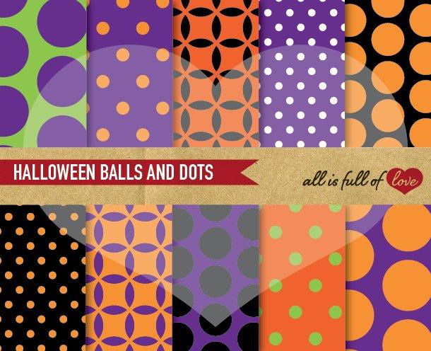 Halloween Scrapbooking Dotted Paper Patterns Creative Market