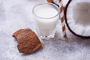 Non-dairy coconut milk. Healthy drink