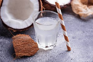 Natural organic fresh coconut water.