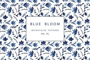 Blue watercolor floral patterns
