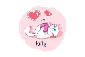Cute Kitty in Pink Circle Vector Illustration