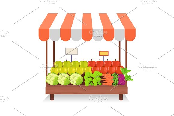 Trade Tent With Fresh Vegetables Illustration