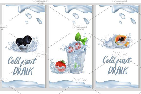 Cold Fruit Drink Promotion Poster Illustration