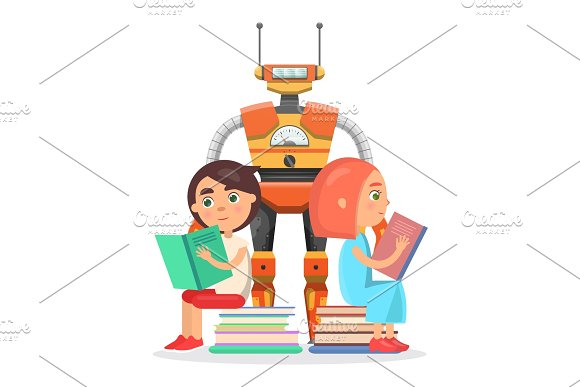 Boy And Girl Read With Big Robot Illustration