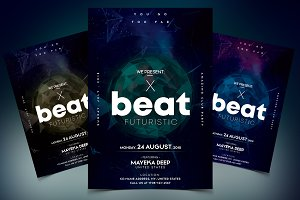 X Beat - Futuristic PSD Flyer