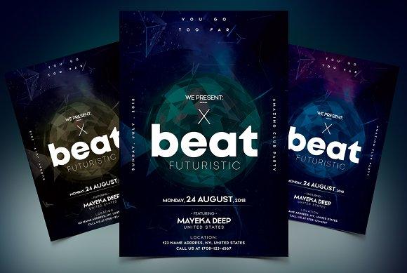 X Beat Futuristic PSD Flyer