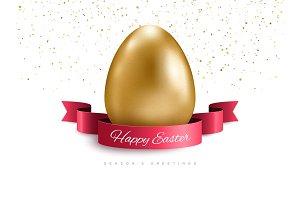 Ribbon, confetti and golden egg