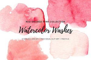 Red Orange Pink Watercolor Washes