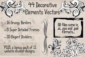 44 Decorative Vector Elements Pack