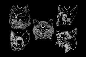 5 Cat Head Art