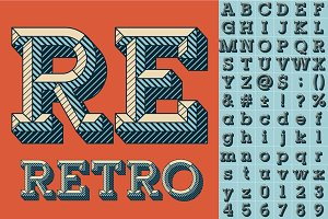 Vector font set of engraved letters