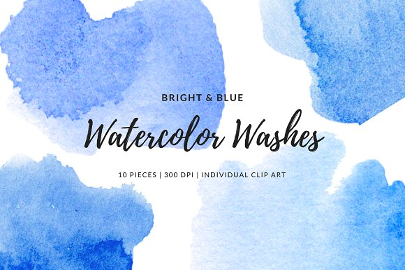 Bright Blue Watercolor Elements