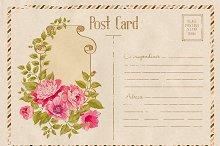 Vintage floral postcard with roses