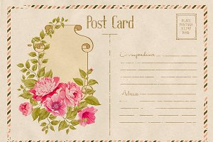 Vintage floral postcard with roses