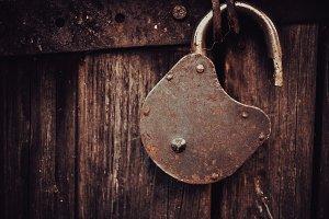 Vintage Old Lock on the Door