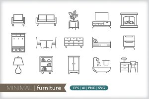 Minimal furniture icons