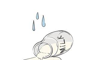 Cry over spilt milk idiom vector