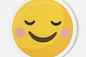 Emoticon happiness and shy (PSD)