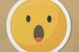 Amazed surprised emoticon icon (PSD)
