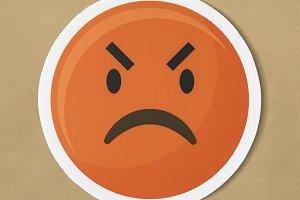 Emoticon emoji angry face icon (PSD)