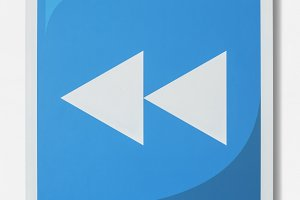 Blue rewind button music icon (PSD)