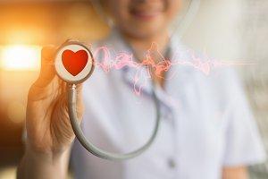 Nurses are using stethoscope heart
