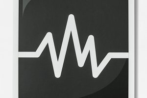 Black and white icon of audio (PSD)