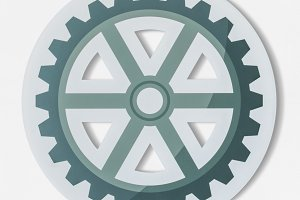 Paper craft of cog wheel icon (PSD)