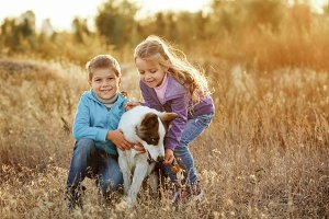 Family. Brother, sister and dog.