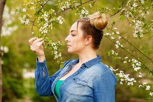 Girl in the spring park