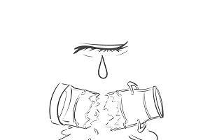 Cry over spilt milk idiom vector