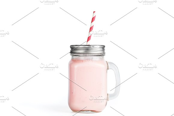 Strawberry Smoothie In Mason Jar Glass Isolated