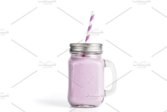 Blueberry Smoothie In Mason Jar Glass Isolated