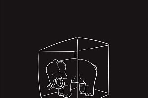 Elephant in the room idiom vector