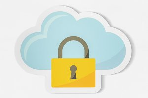 Cloud security icon technology (PSD)