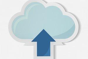 Cloud uploading icon technology(PSD)