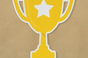 Golden trophy with star icon (PSD)