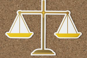 Legal scale of justice icon (PSD)